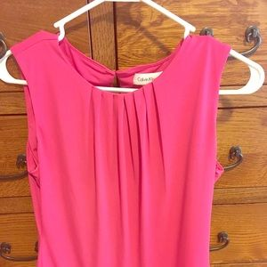 Pink Sleeveless Pleated Blouse